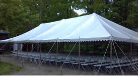 Markham Tent Rentals also has tables 30 x 96 that will seat 8 comfortably.